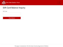 Ohio State Stadium Tours gift card balance check