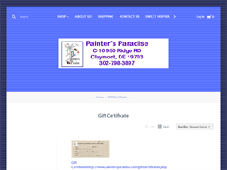 Painter's Paradis gift card purchase
