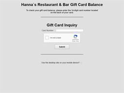 Hanna's gift card balance check