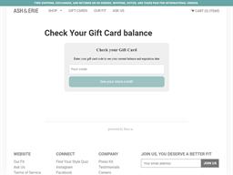 Ash & Erie gift card balance check
