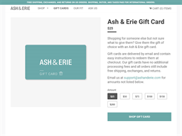Ash & Erie gift card purchase