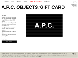 A.P.C. gift card purchase