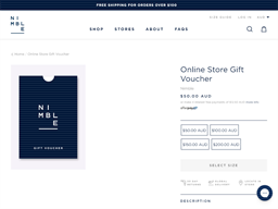 Nimble Activewear gift card purchase
