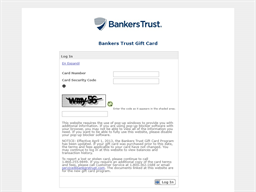Bankers Trust gift card balance check