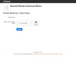 Second St Restaurant gift card balance check