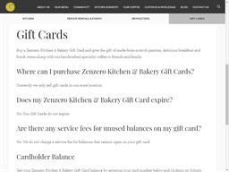 Zenzero Kitchen gift card balance check