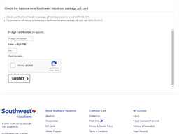 Southwest Vacations gift card balance check