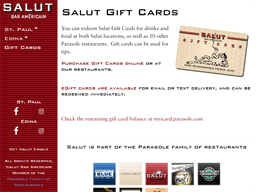 Salut Bar Americain gift card purchase