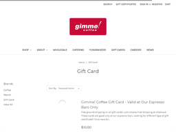Gimme Coffee gift card purchase