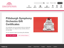 Pittsburgh Symphony Orchestra gift card purchase