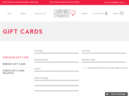 Gerard Cosmetics gift card purchase