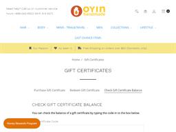 Oyin Handmade gift card balance check