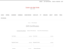 Susan van der Linde gift card purchase