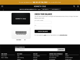 Kenneth Cole gift card balance check