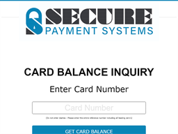Secure Payment Systems gift card balance check