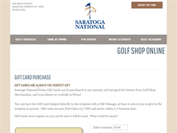Saratoga National Golf Club gift card purchase