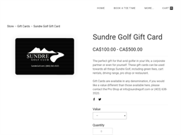 Sundre Golf Club gift card purchase