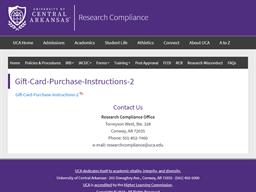 UCA University of Central Arkansas gift card purchase