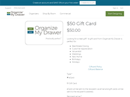 Organize My Drawer gift card purchase