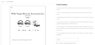 Will's Vegan Boutique gift card purchase