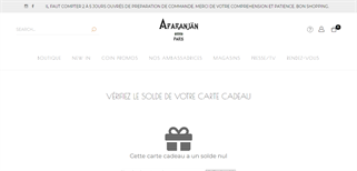 Aparanjan Paris gift card balance check