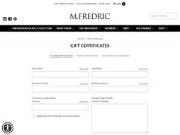 M.Fredric gift card purchase