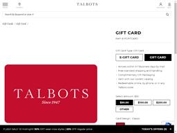 Talbots gift card balance check