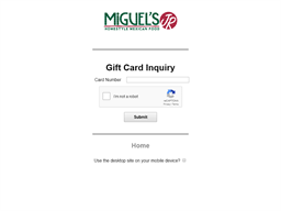 Miguel's gift card balance check