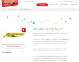 Adrenalin Sports & Cycles gift card purchase