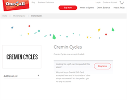 Cremin Cycles gift card purchase