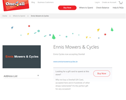 Ennis Mowers & Cycles gift card purchase