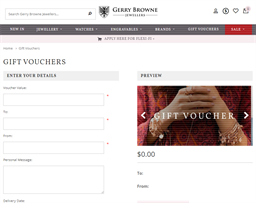 Gerry Browne Jewellers gift card purchase