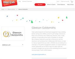 Gleeson Goldsmiths gift card purchase
