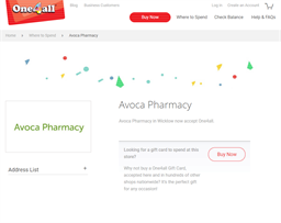 Avoca Pharmacy gift card purchase