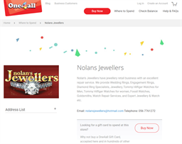 Nolan's Jewellers gift card purchase