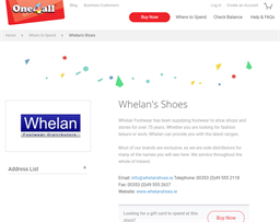 Whelan Footwear gift card purchase
