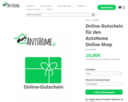 AntsHome gift card purchase