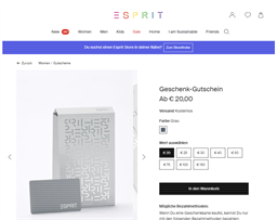 Esprit gift card purchase
