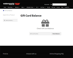 Watersports Warehouse gift card balance check