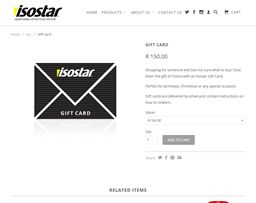 Isostar gift card purchase