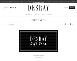 Desray Boutique gift card purchase