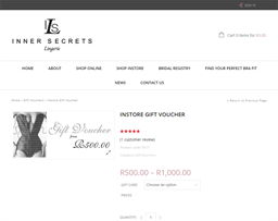 Inner Secrets Lingerie gift card purchase