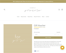 Simply Granola gift card purchase