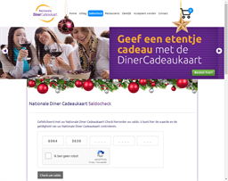 Nationale Diner Cadeaukaart gift card balance check
