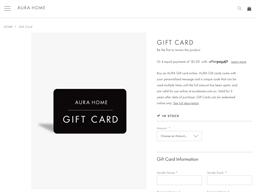 AURA Home gift card purchase