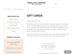 Paulas Choice gift card purchase