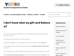 The Trybe gift card balance check