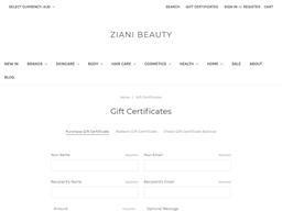 Ziani Beauty gift card purchase
