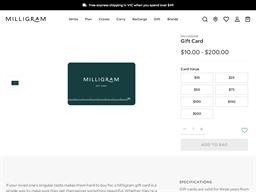 Milligram gift card purchase