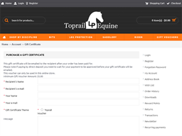 Toprail Equine gift card purchase